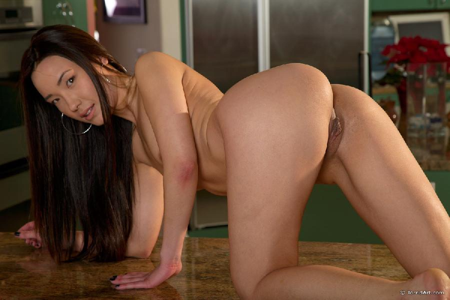 Long-haired Asian is stripping in a kitchen - Miko Sinz - 24