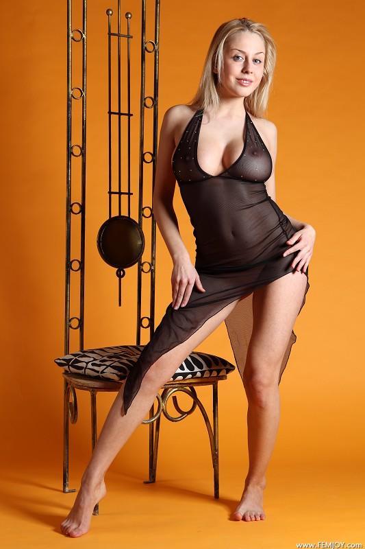 Busty Aelita in a sheer black dress - 2
