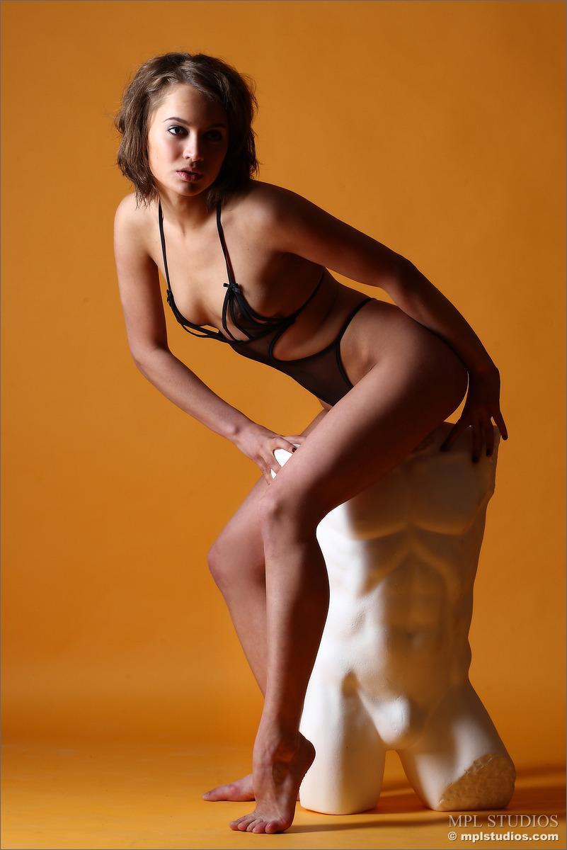 Sensual girl in killer transparent black lingerie - Lera - 2