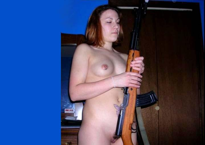 Naked girl with rifle - 1