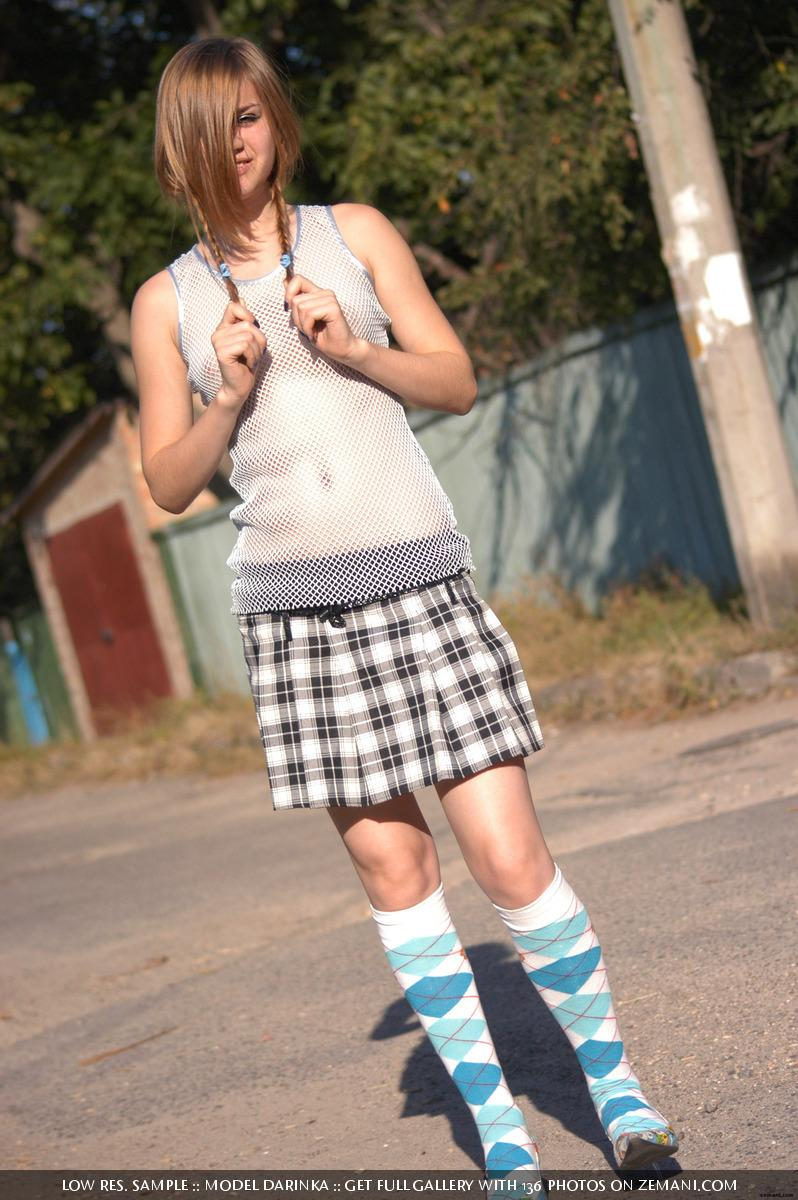 Young schoolgirl and her upskirt outdoor - Darinka - 3