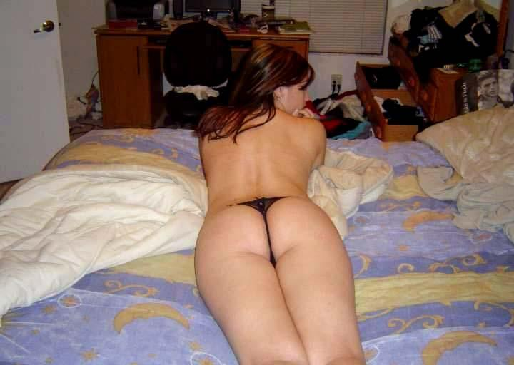 ass laying amateur bed Nude on