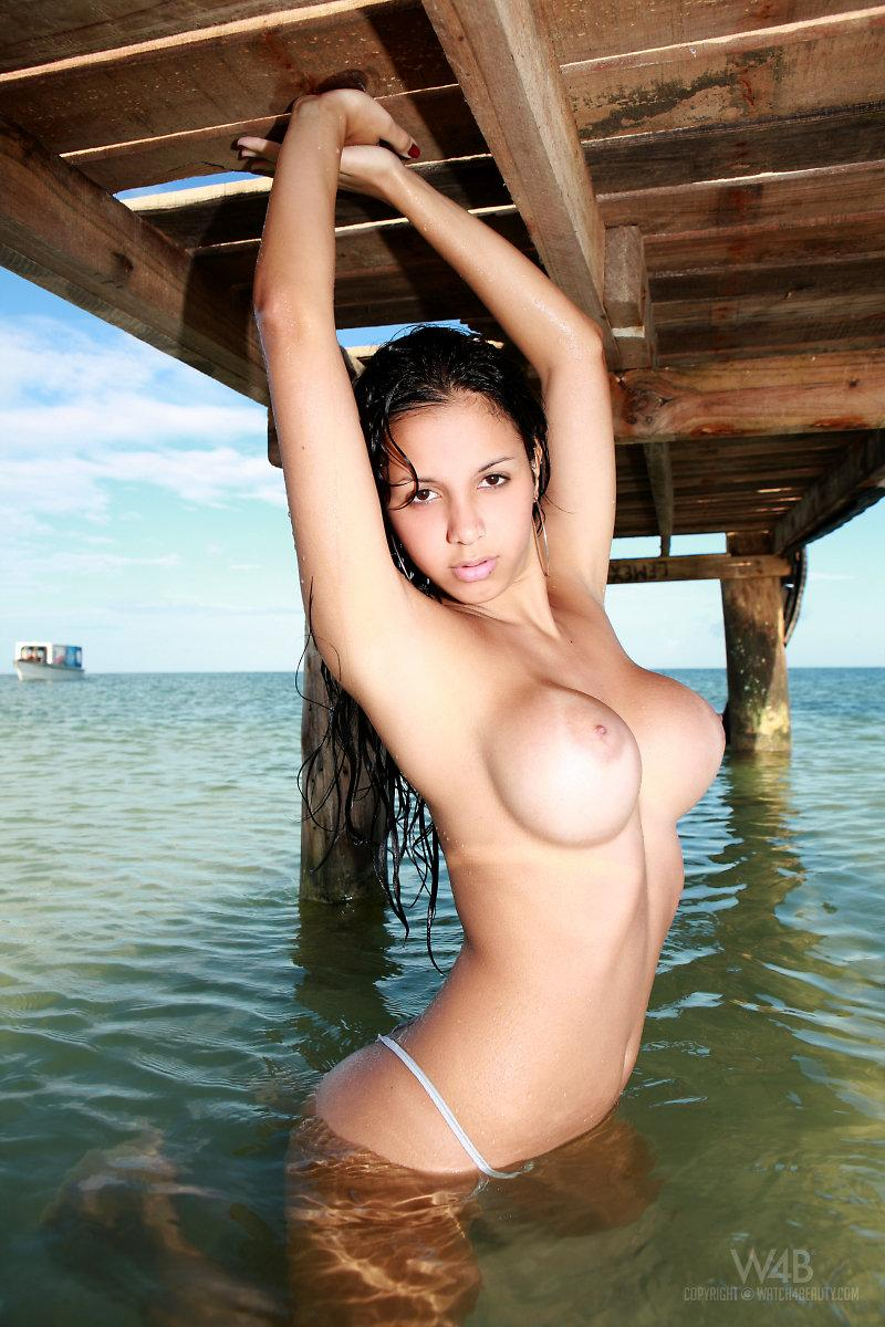 And women Latina on beach