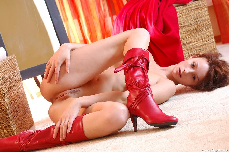 Busty redhead in red boots - Abby - 10