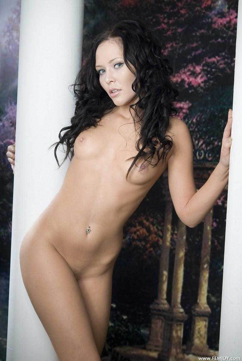 brunette naked hair Curly