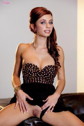Enticing redhead strips her dress - Victoria Lynn