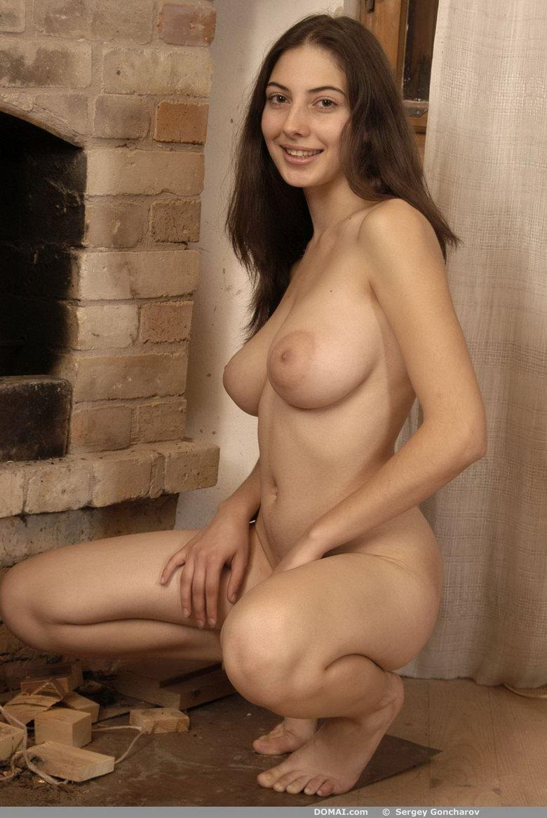 Naked girl beside fireside - Angela - 4