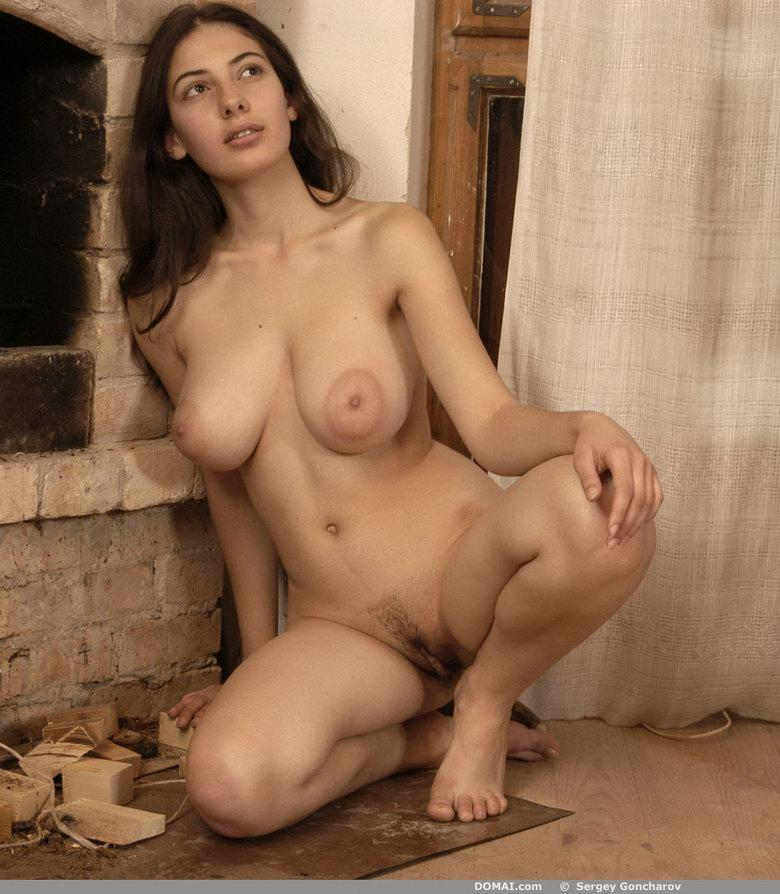 Naked girl beside fireside - Angela - 5