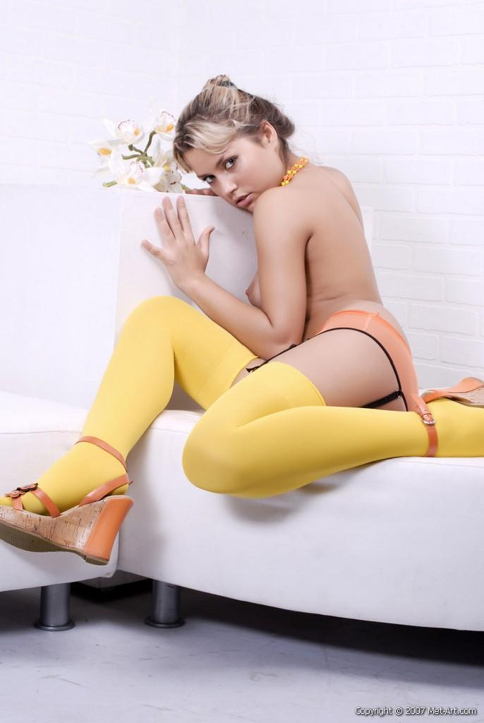 Blonde in yellow stockings - Viki C - 2