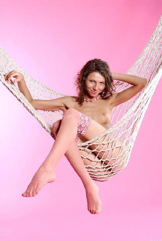 Pink studio and girl on hammock - Rebecca C