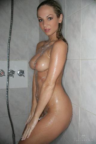 Naked Ambra under shower