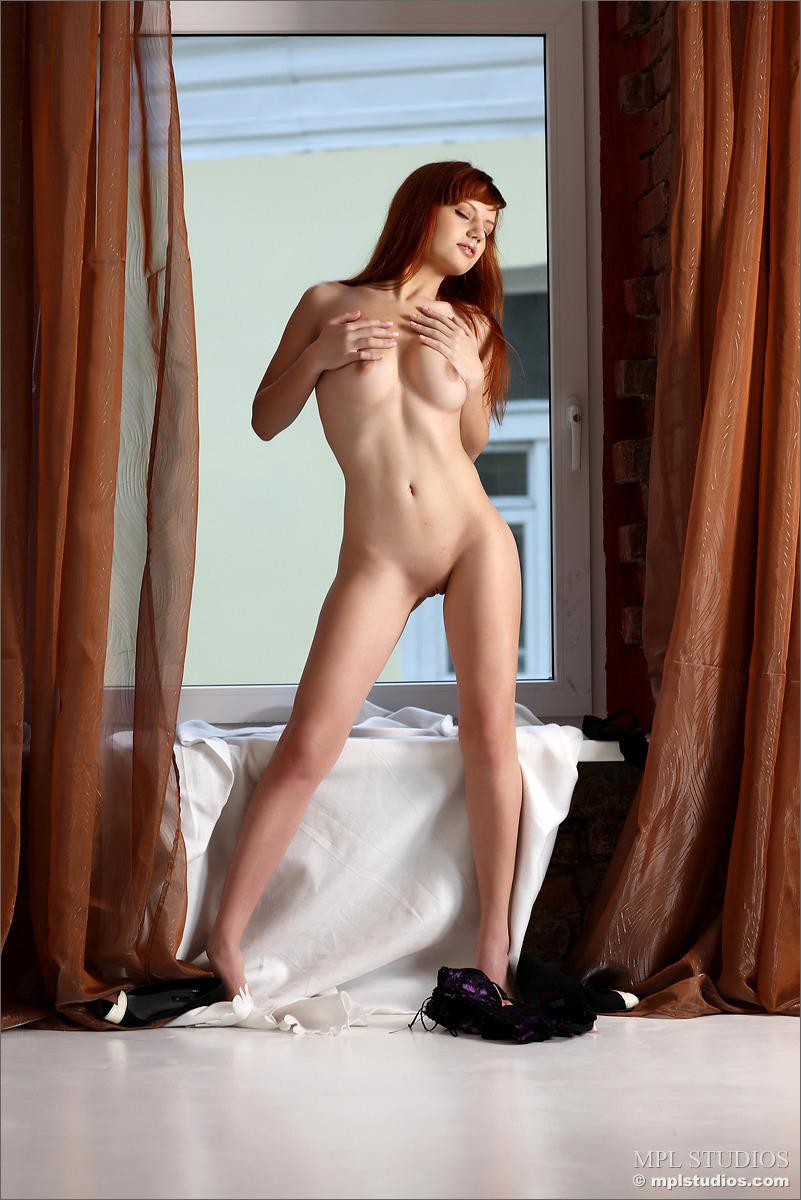 Stunning redhead is stripping her lingerie - Solana - 11