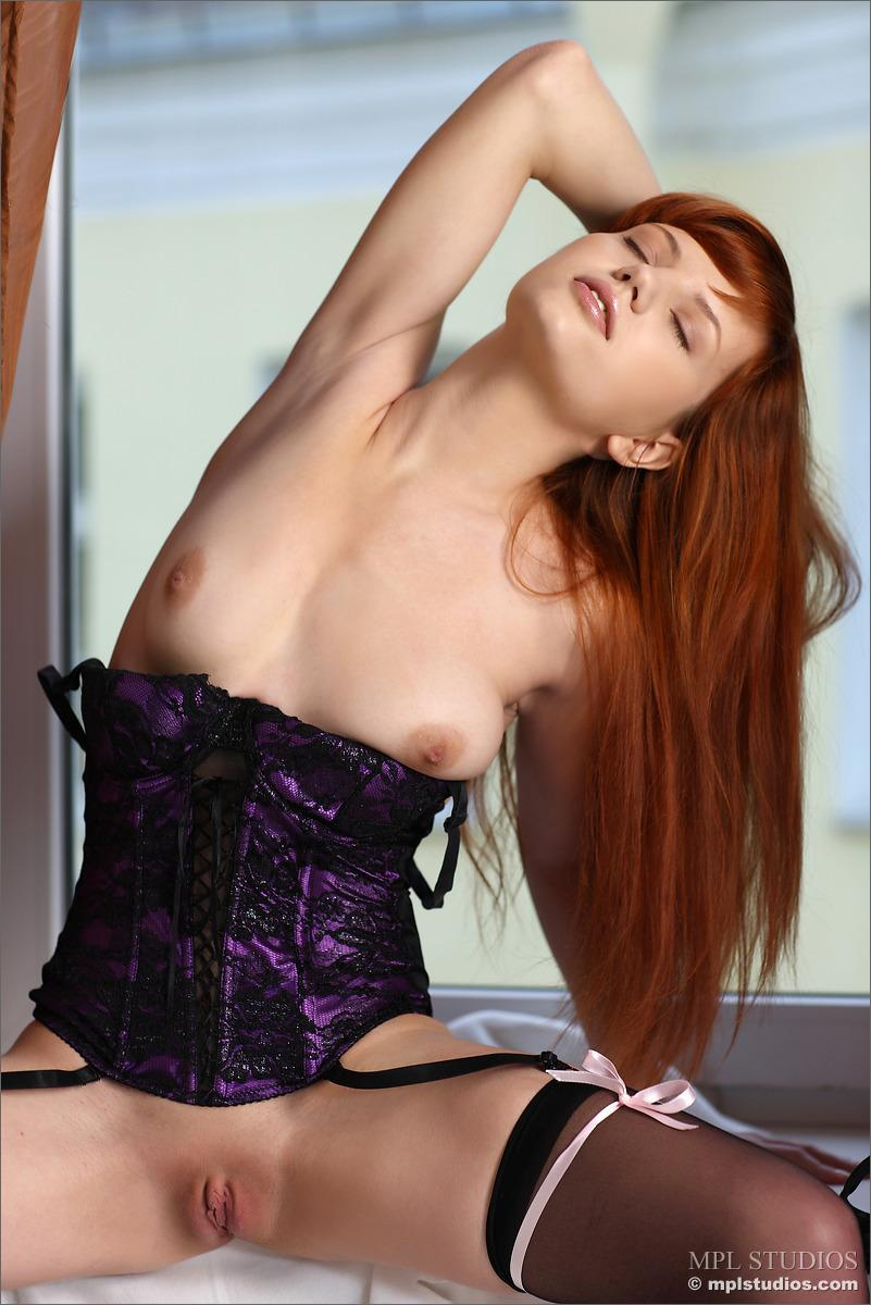 Stunning redhead is stripping her lingerie - Solana - 7