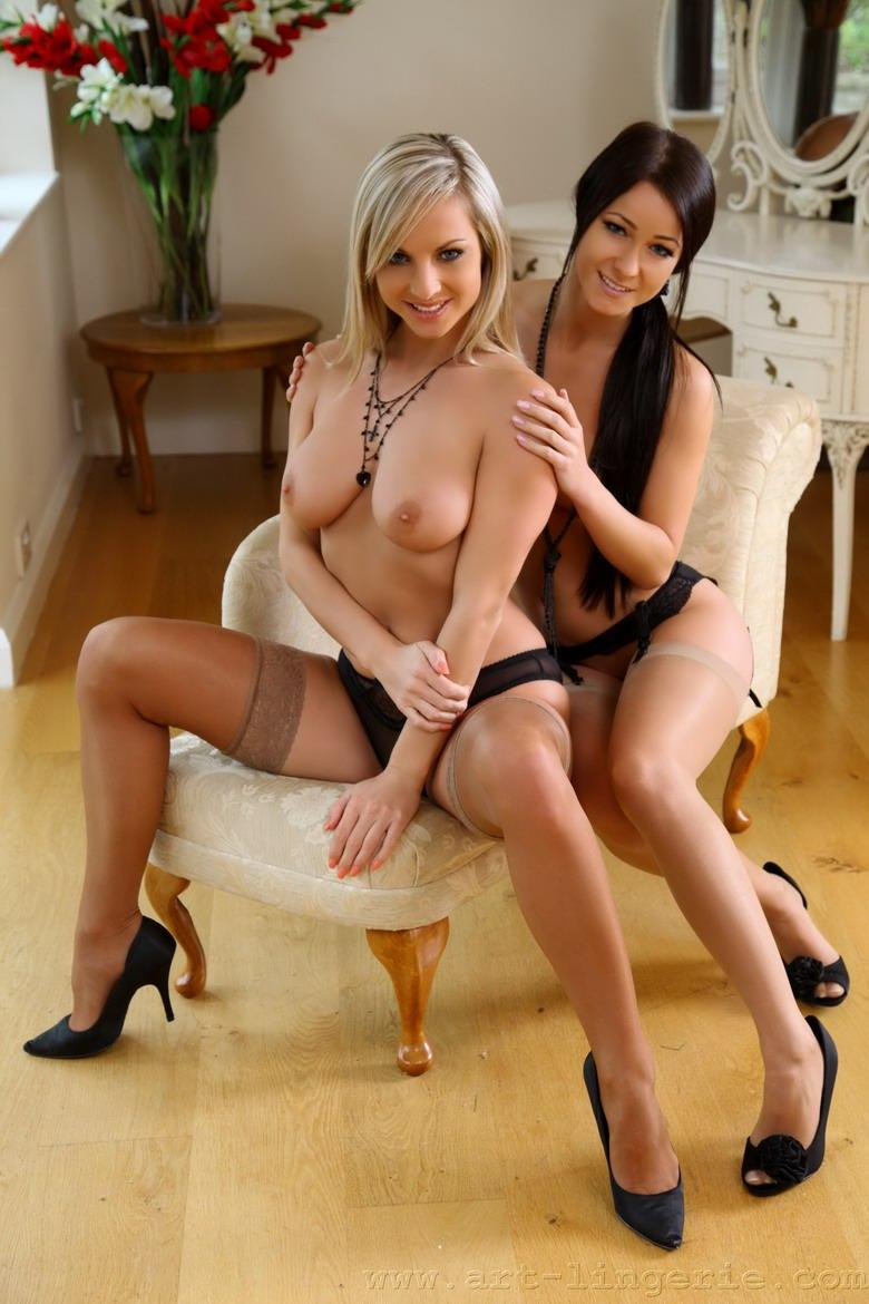 Brunette and blonde in sexy lingerie - Kristina & Ambra - 2