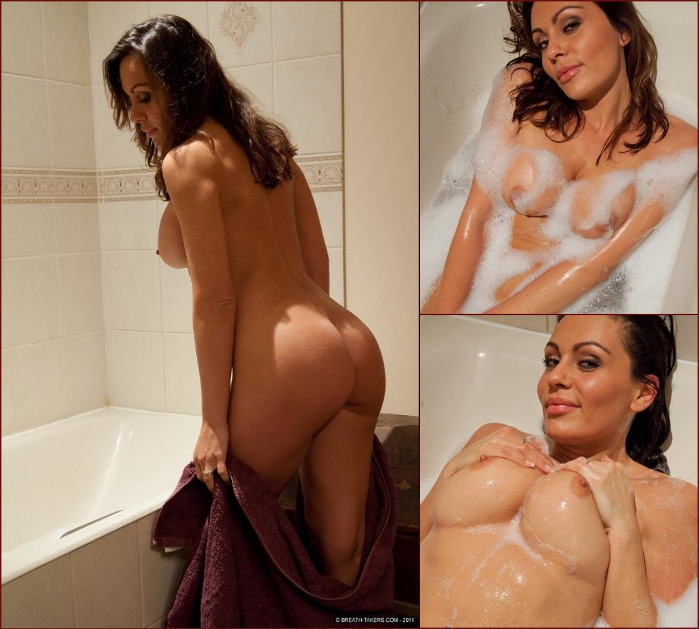 Busty Gina and her milky bath - 15