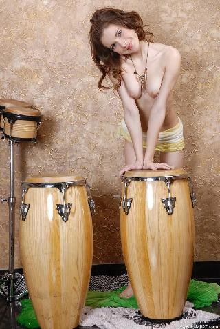 Beate loves music on bongo drums
