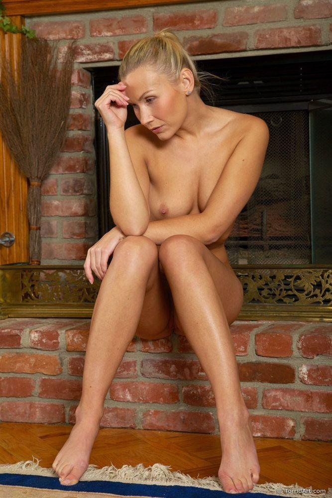 Blonde beside fireplace - Michaela - 15