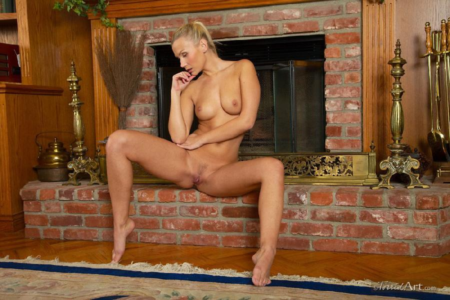 Blonde beside fireplace - Michaela - 17