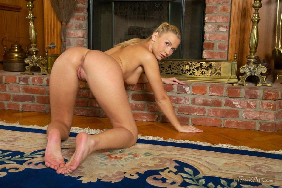 Blonde beside fireplace - Michaela - 20
