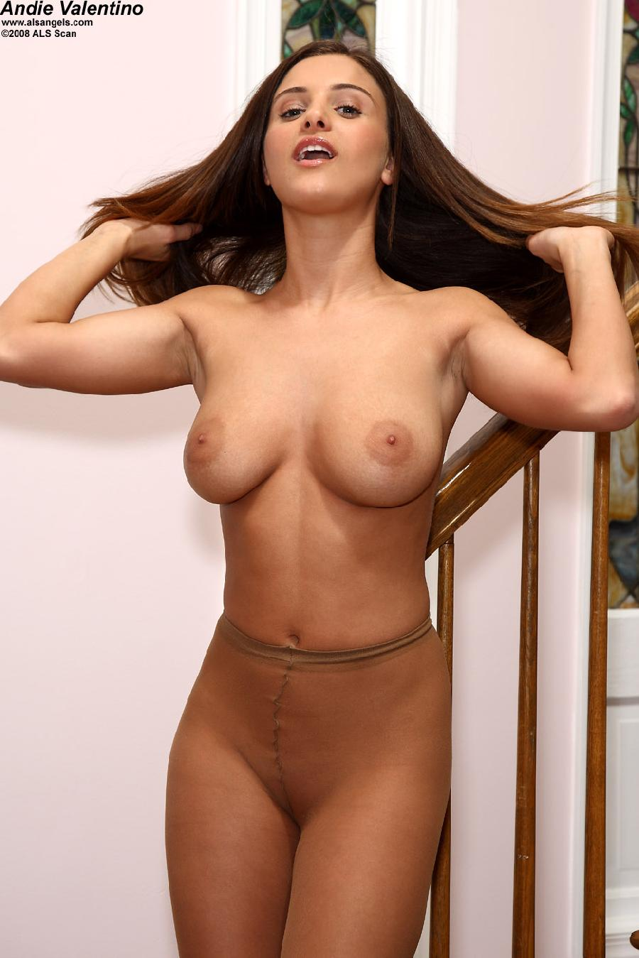 Andie valentino in sheer pantyhose showing her meaty pussy 6