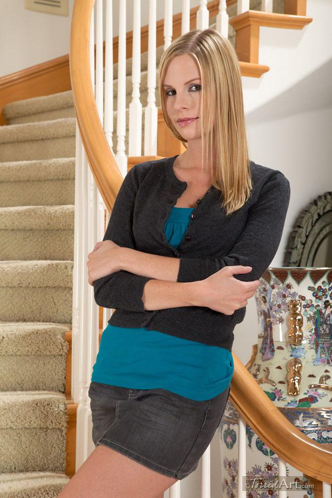 Sexy Aimee Addison on stairs - 1