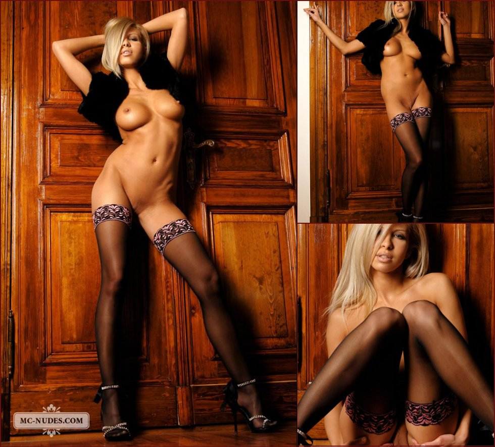 Sensual blonde in sexy black stockings - Clara - 48