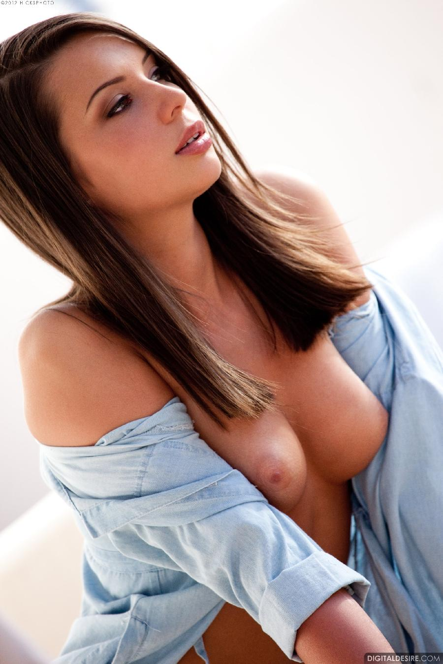 Sexy chick in big blue shirt - Sally Charles. Part 1 - 5