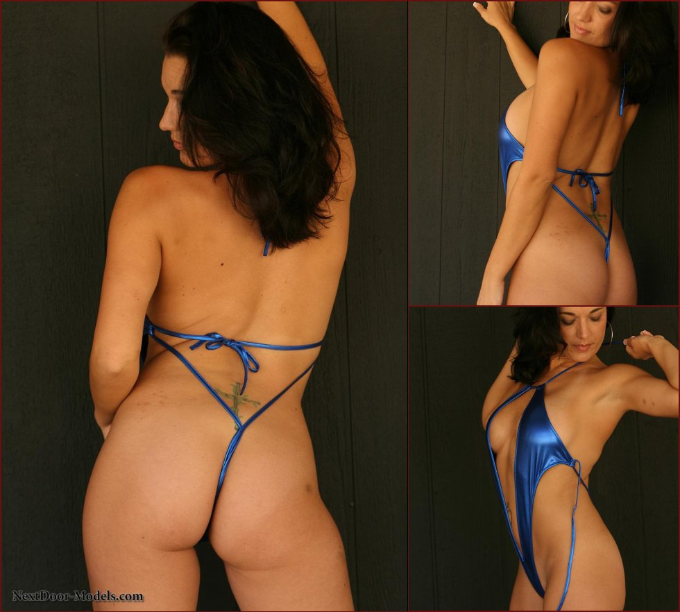 Busty Latina strips her blue body suit - Teresa - 28