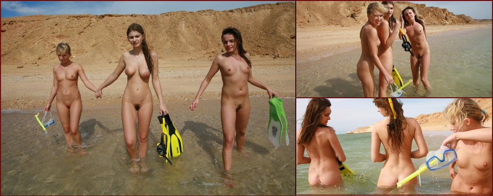 Diving with three naked girls - 36