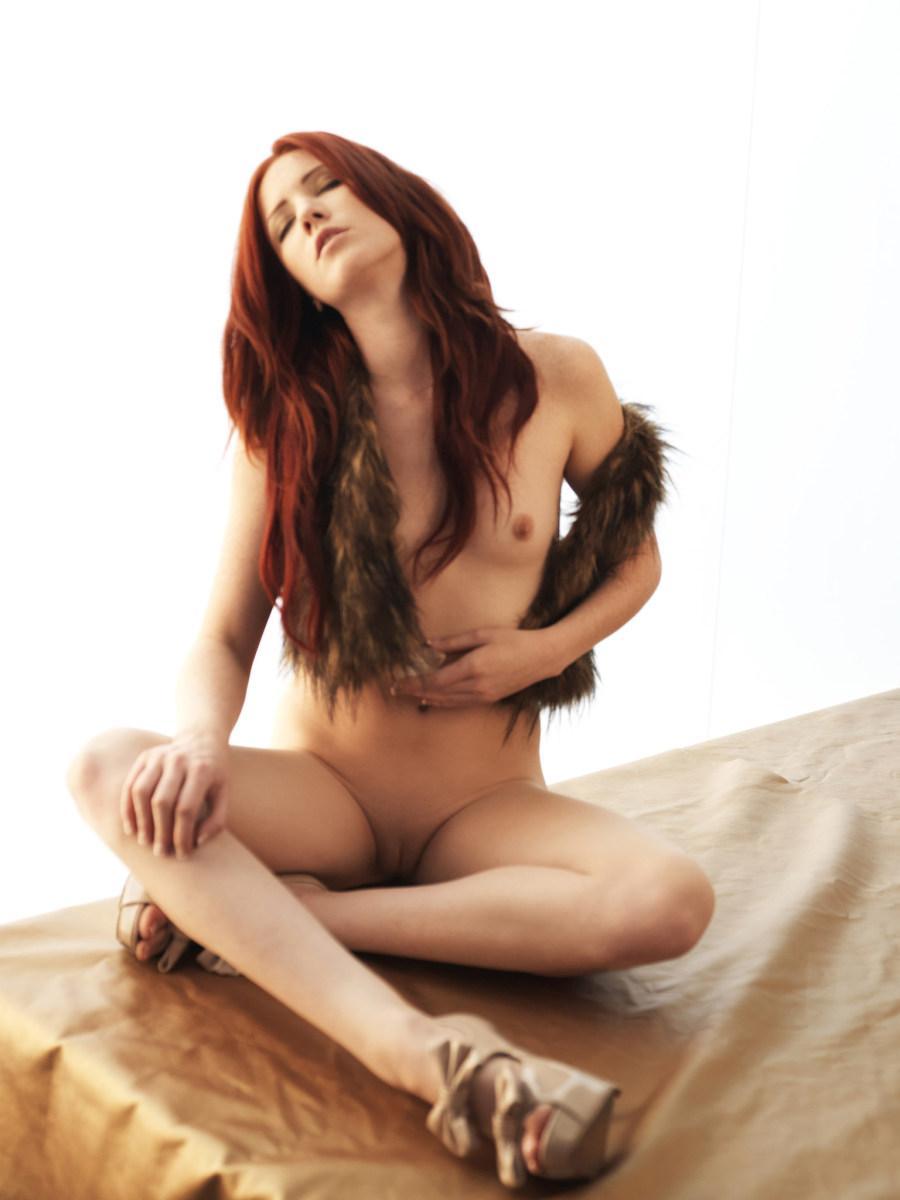Stunning redhead in fur waistcoat - Elle Alexandra - 10