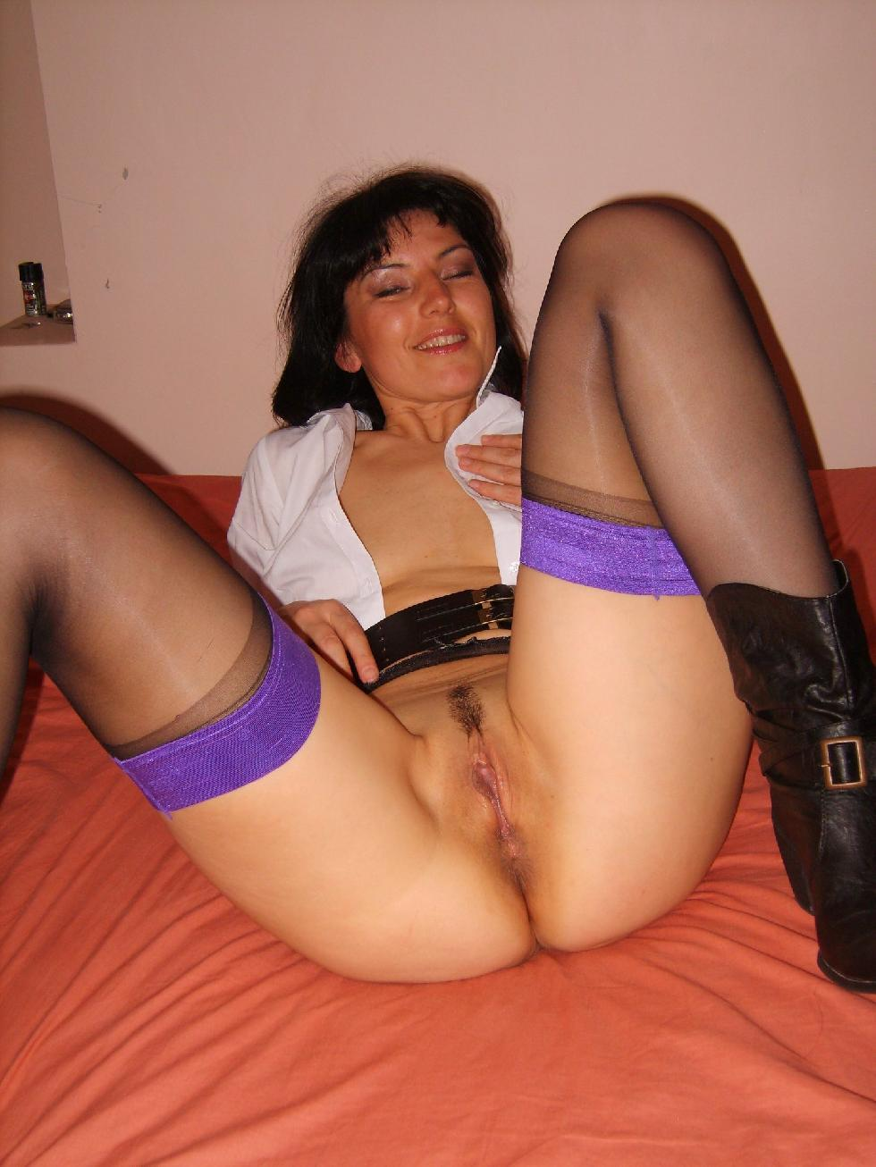 Wife spread legs with stockings
