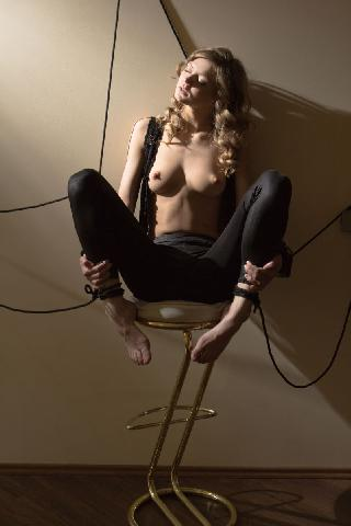 Beautiful and crazy blonde on chair - Patritcy A