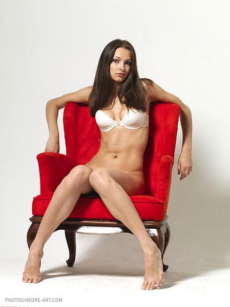 Erotic session with gorgeous brunette on red armchair - Elvira. Part 1 - 1