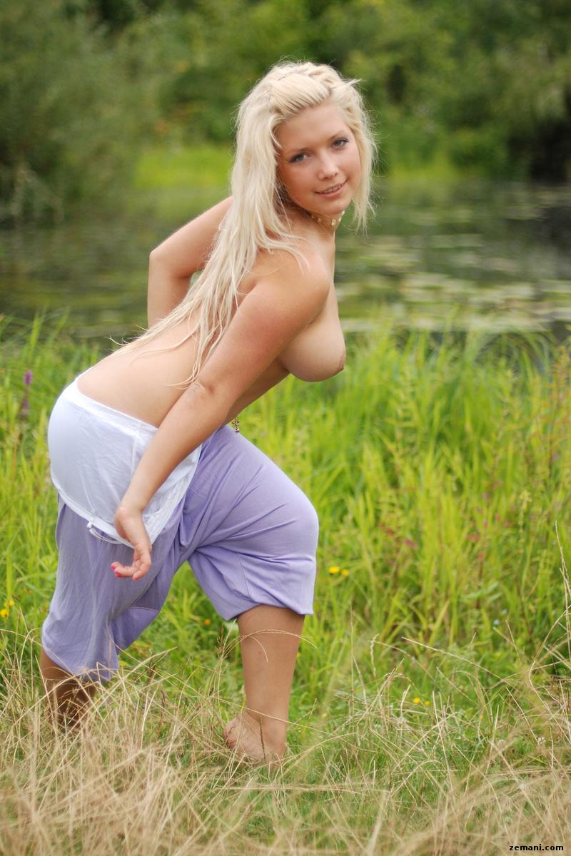 Stunning blonde is posing in nature - Melica C - 1