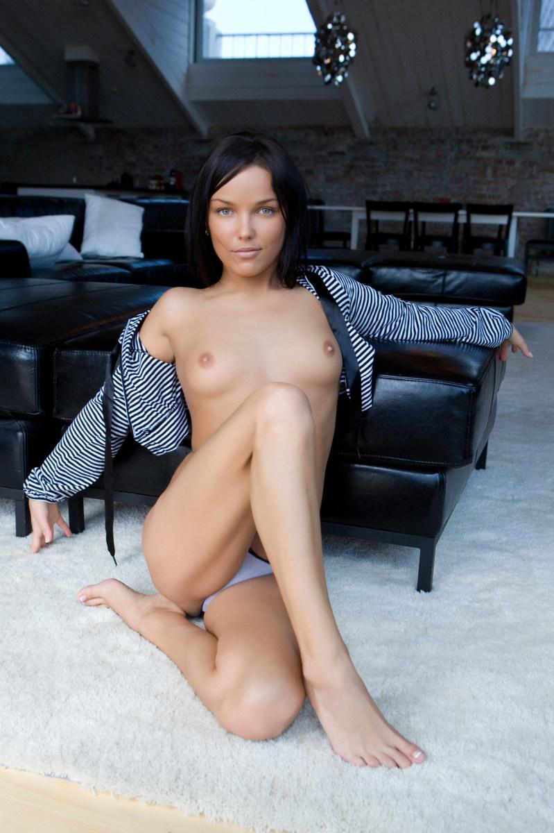Tanned brunette shows sweet meaty pussy - Bryony A - 3