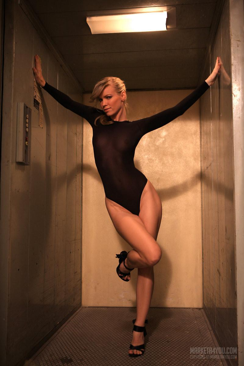 Erotic session in the lift with stunning blonde model - Marketa Belonoha - 2