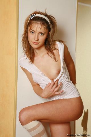 Cute young girl in high socks - Irina L