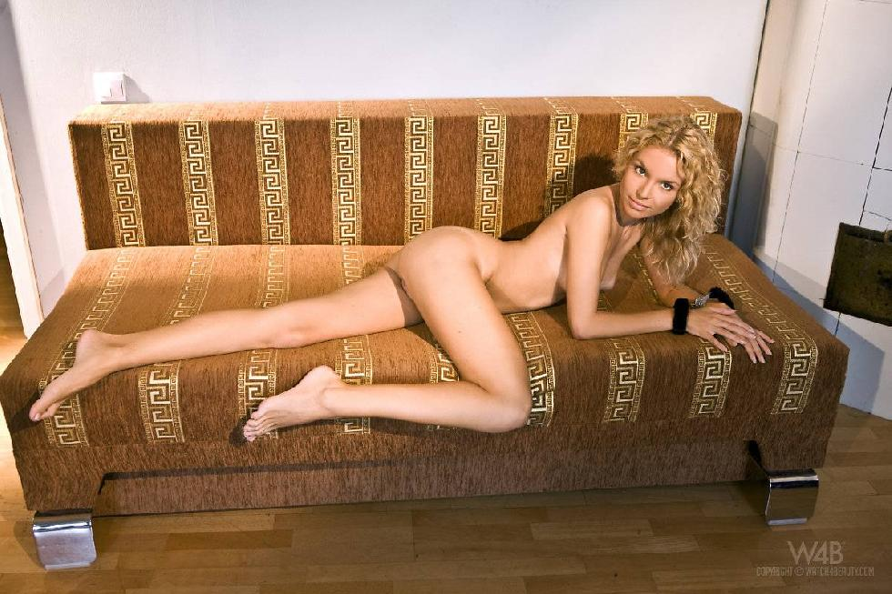Naked blonde spreads legs on a couch - Summer Breeze - 6