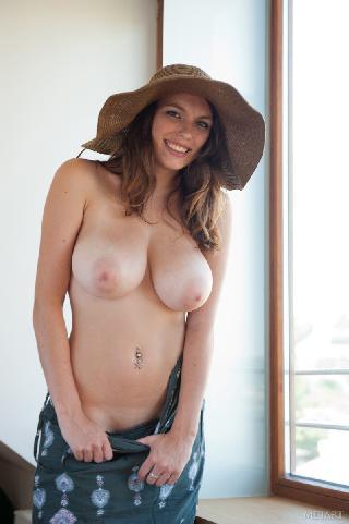 Fabulous busty woman in big summer hat - Pavla A
