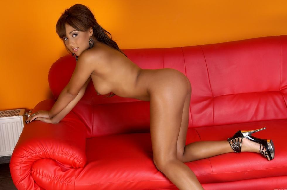 Wonderful ebony is posing on red sofa - Kayla Louise - 6