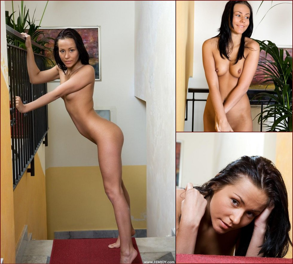 Naked young beauty is posing on stairs - Sonia - 37