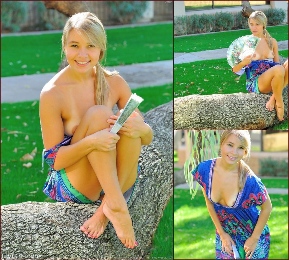 Outdoor session with beautiful blonde teen - Amie - 17