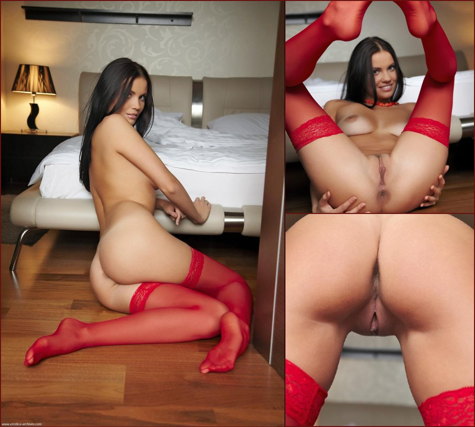 Voluptuous young brunette in sexy red stockings - Eliana - 15
