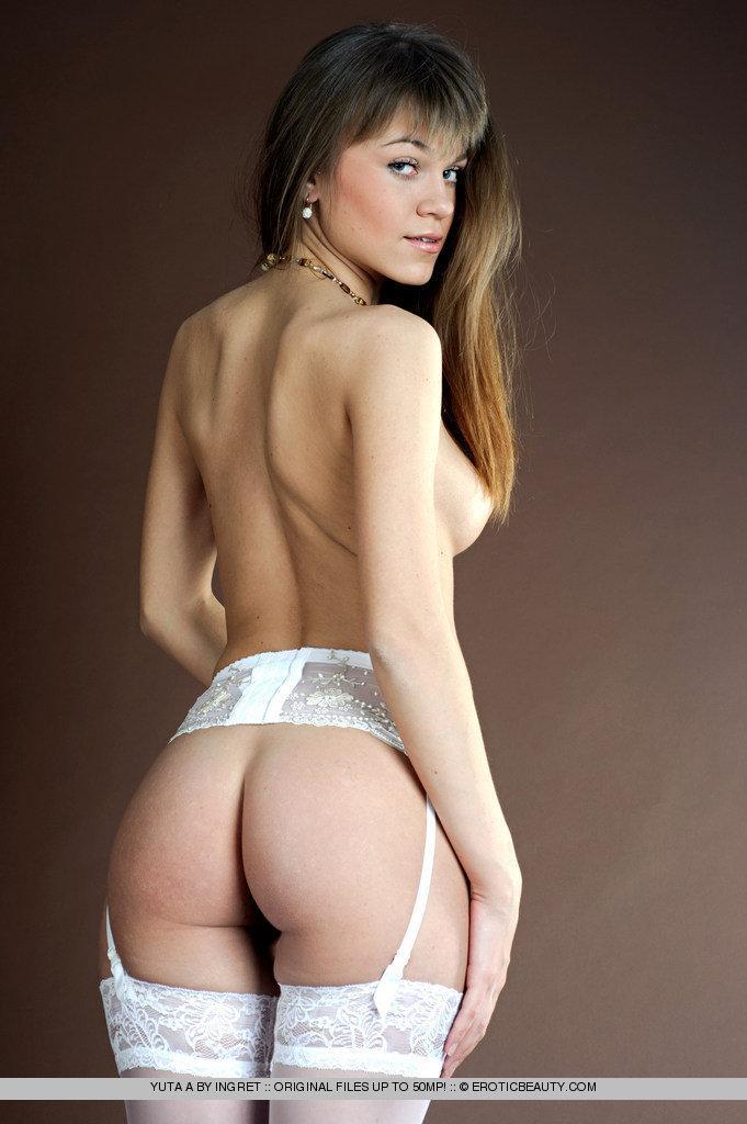 Beautiful innocent girl in white stockings - Yuta - 1