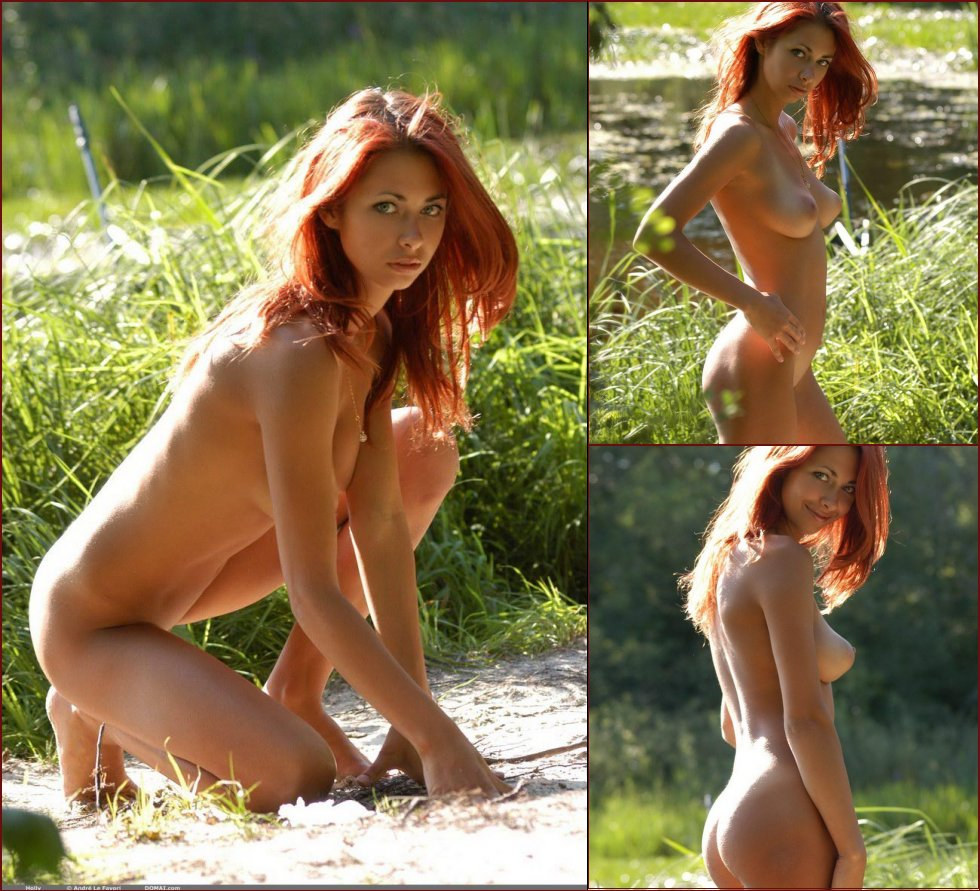 Alluring red-head Holly is on the beach  - 43