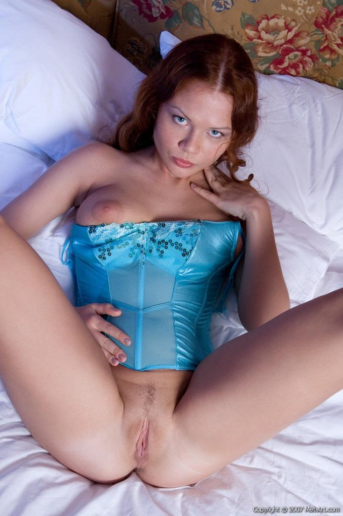 Cute red-haired Alice on the bed - 9