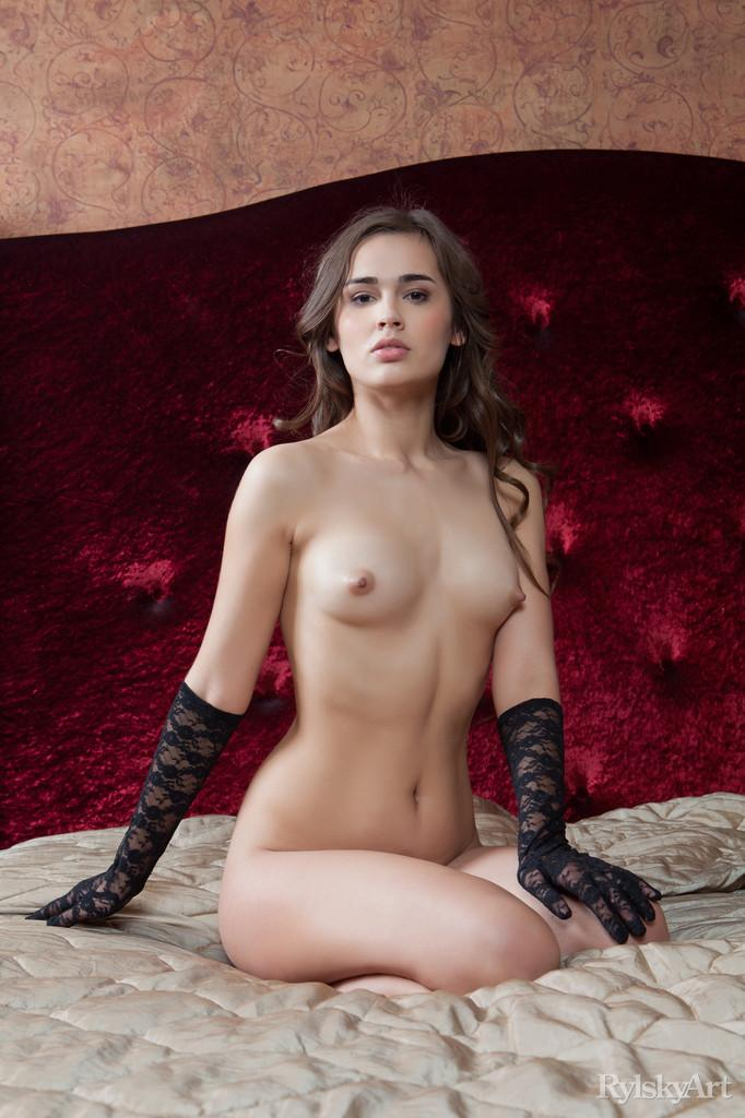 Naked girl in sexy black gloves - Trista - 7