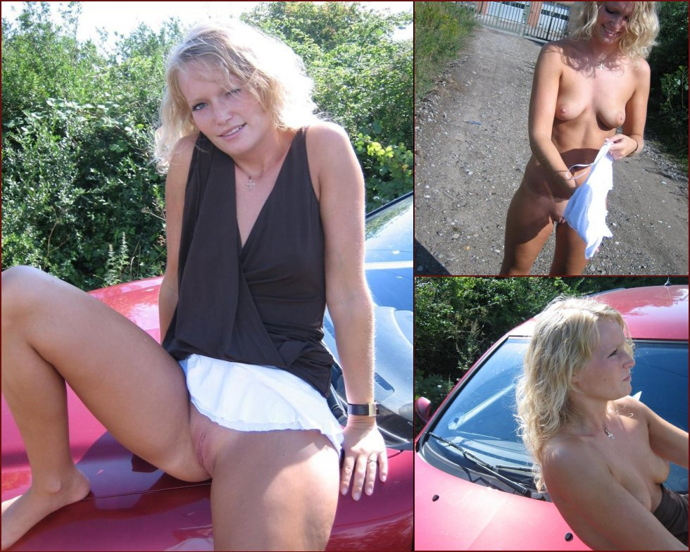 Blonde amateur is posing by the car - 63