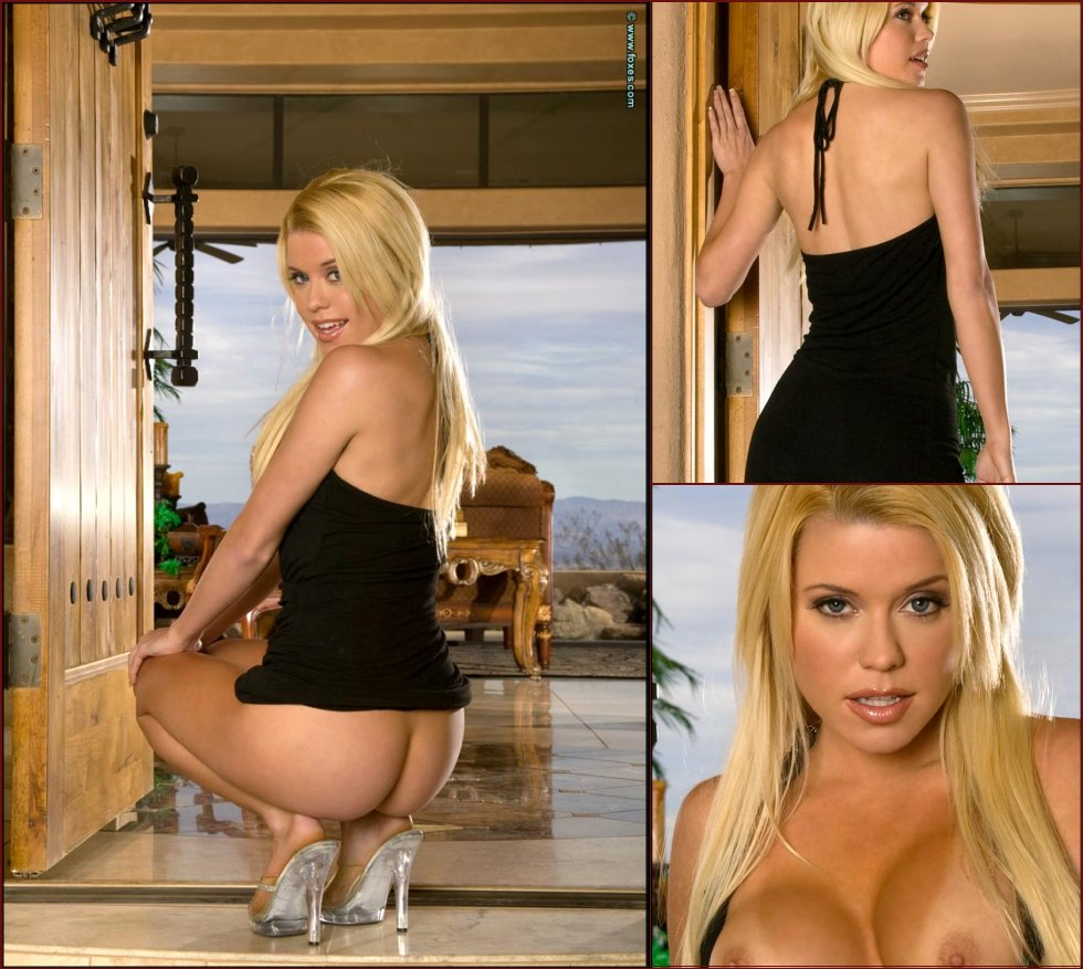 Hot blonde chick strips sexy black dress - Brandie Moses - 26