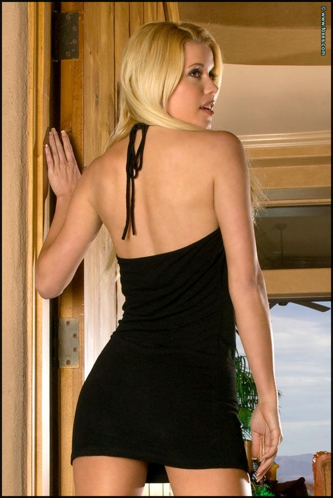 Hot blonde chick strips sexy black dress - Brandie Moses - 2